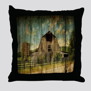 wood grain old barn Throw Pillow