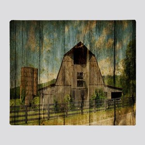 wood grain old barn Throw Blanket