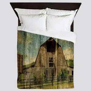 wood grain old barn Queen Duvet