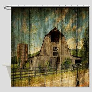 wood grain old barn Shower Curtain