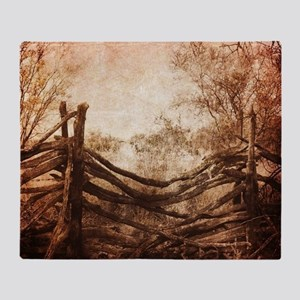 rural landscape fence farm Throw Blanket