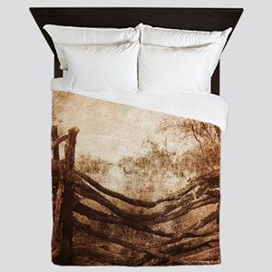 rural landscape fence farm Queen Duvet