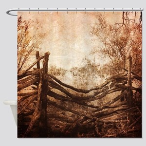 rural landscape fence farm Shower Curtain