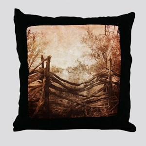 rural landscape fence farm Throw Pillow