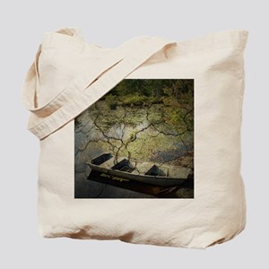 vintage country lake canoe Tote Bag