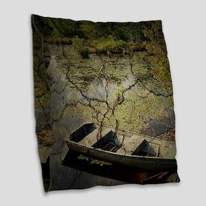 vintage country lake canoe Burlap Throw Pillow