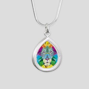 Rainbow Lion Silver Teardrop Necklace