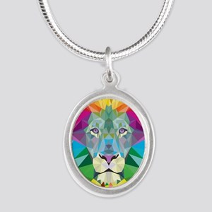 Rainbow Lion Silver Oval Necklace