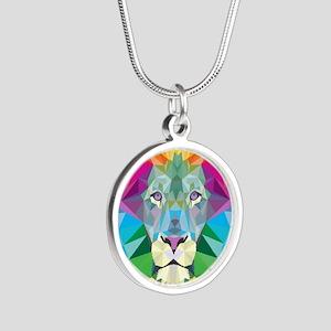 Rainbow Lion Silver Round Necklace