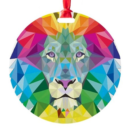 Rainbow Lion Round Ornament
