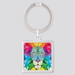 Rainbow Lion Square Keychain