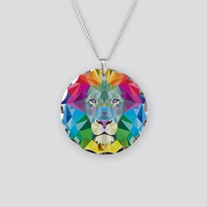 Rainbow Lion Necklace Circle Charm