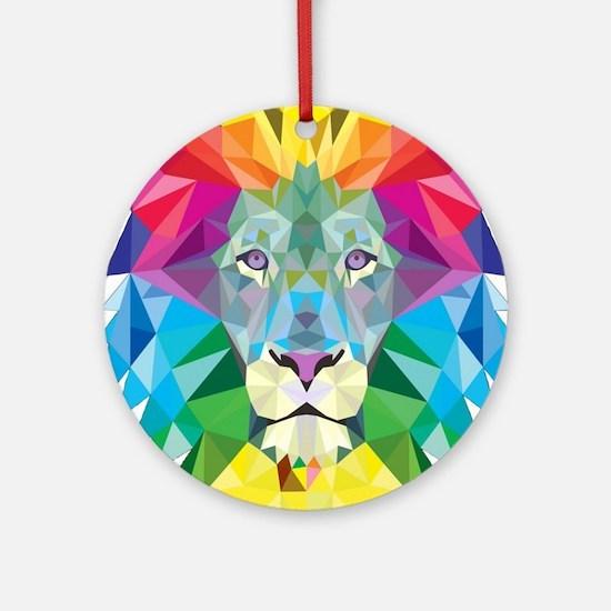 Rainbow Lion Round Ornament