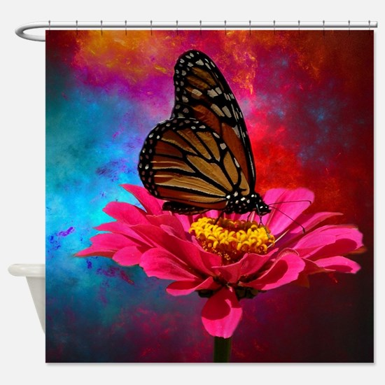 turquoise pink girly butterfly Shower Curtain