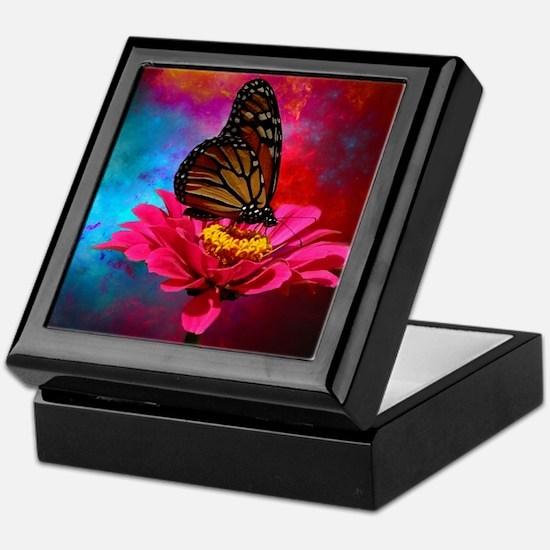 turquoise pink girly butterfly Keepsake Box