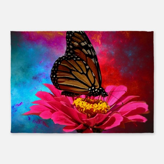 turquoise pink girly butterfly 5'x7'Area Rug