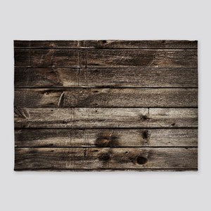 rustic primitive grey barn wood 5'x7'Area Rug