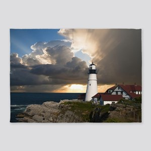 Country Lighthouse 5'x7'Area Rug