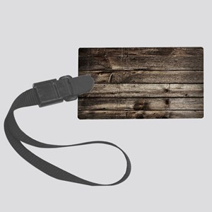 rustic primitive grey barn wood Large Luggage Tag