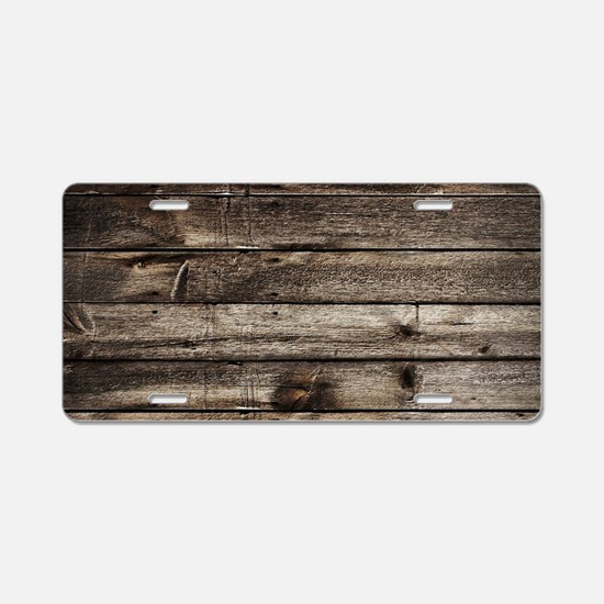 rustic primitive grey barn Aluminum License Plate