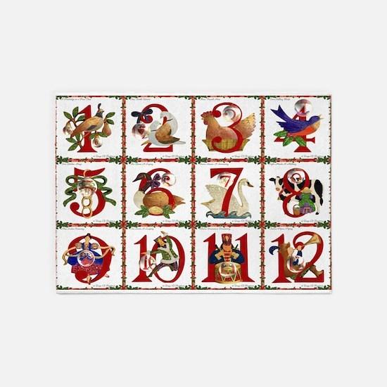 12 Days Of Christmas 5'x7'Area Rug