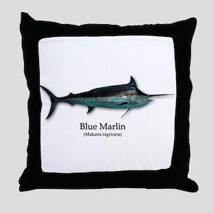 Blue Marlin Throw Pillow
