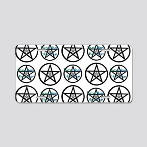 Green Many Pentacle Aluminum License Plate
