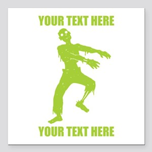 "Personalized Zombie Square Car Magnet 3"" x 3"""