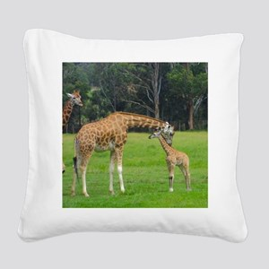 Baby Giraffe Square Canvas Pillow