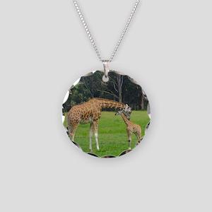 Baby Giraffe Necklace Circle Charm