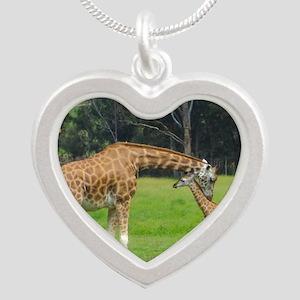 Baby Giraffe Silver Heart Necklace