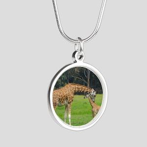 Baby Giraffe Silver Round Necklace