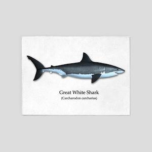 Great White Shark 5'x7'Area Rug