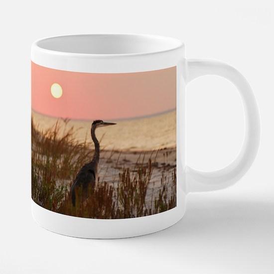 Heron at Sunset Stainless Steel Travel Mugs
