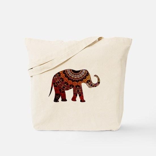 Yellow & Orange Metallic Elephant Tote Bag
