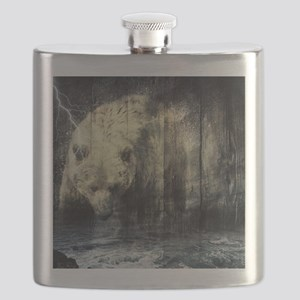 cabin rustic grizzly bear Flask
