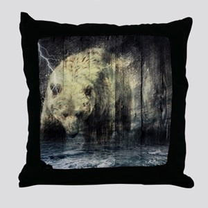 cabin rustic grizzly bear Throw Pillow