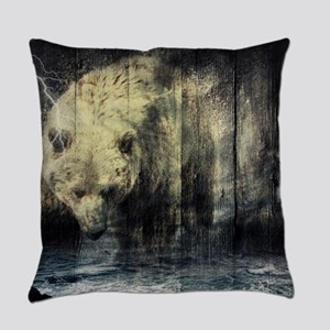 cabin rustic grizzly bear Everyday Pillow