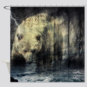 cabin rustic grizzly bear Shower Curtain
