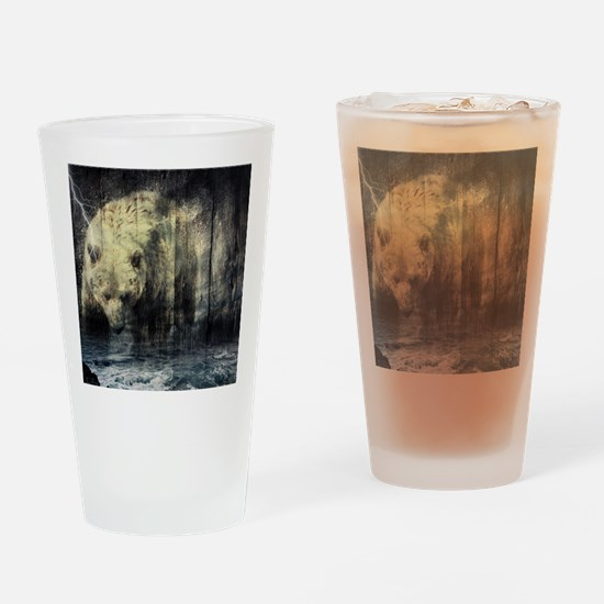 cabin rustic grizzly bear Drinking Glass