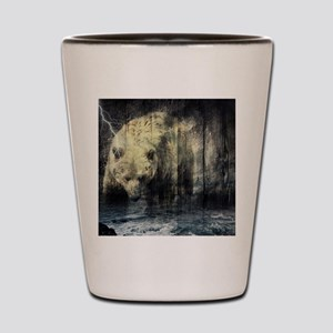 cabin rustic grizzly bear Shot Glass