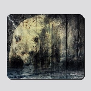 cabin rustic grizzly bear Mousepad