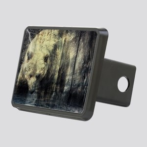 cabin rustic grizzly bear Rectangular Hitch Cover