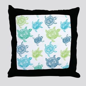 Blue and Green Turtles Throw Pillow
