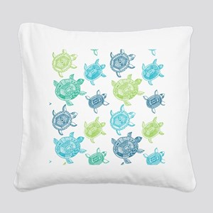 Blue and Green Turtles Square Canvas Pillow