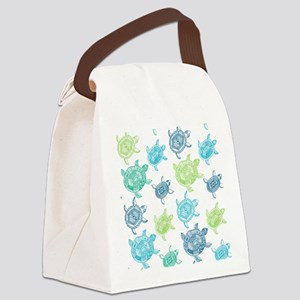 Blue and Green Turtles Canvas Lunch Bag