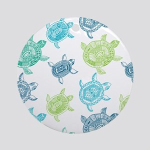 Blue and Green Turtles Round Ornament