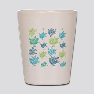 Blue and Green Turtles Shot Glass