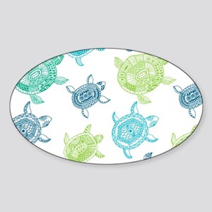 Blue and Green Turtles Sticker (Oval)