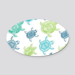 Blue and Green Turtles Oval Car Magnet